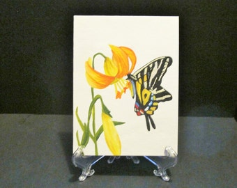 Butterfly on Lily - hand painted card