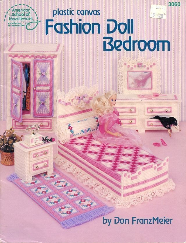Fashion Doll Bedroom The Needlecraft Shop Plastic Canvas Furniture Pattern Booklet 3060 Armoire