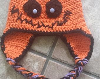 Halloween crochet hat with spider