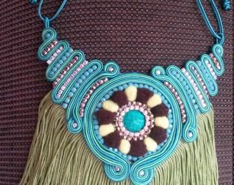 fringed necklace design soutache my kmi