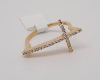 18K Rose Gold Diamond Cross Ring