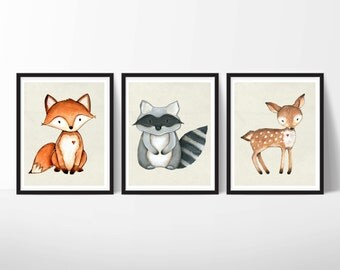 SALE - Set of 3 5X7 Nursery Animal Prints - forest animal print, nursery decor, print set, digital download, baby animal print