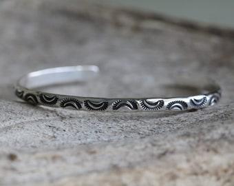 Southwestern Sunrise Cuff - Silver Stacking Cuff - Sterling Silver Cuff Bracelet