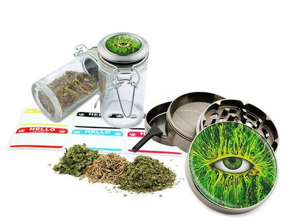 "Green Eye - 2.5"" Zinc Alloy Grinder & 75ml Locking Top Glass Jar Combo Gift Set Item # 110514-0034"