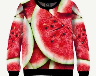 Watermelon, Sliced Red Berry - Men's Women's Sweatshirt | Sweater - XS, S, M, L, XL