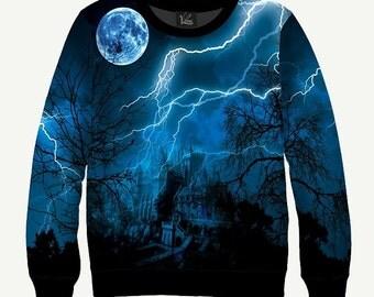 Night Storm, Full Moon, Lightning, Darkness  - Men's Women's Sweatshirt   Sweater - XS, S, M, L, XL, 2XL, 3XL, 4XL, 5XL
