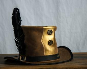 Steampunk Golden Pilgrim Top Hat