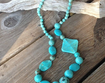 """29""""Boho Turquoise Knotted Beaded Necklace by CityStonesJewelry"""
