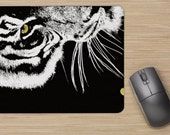 Mouse pads series: mouse pad; art on mouse pad; fox, foxes, zebras, bear, black bear, tiger, eye of the tiger
