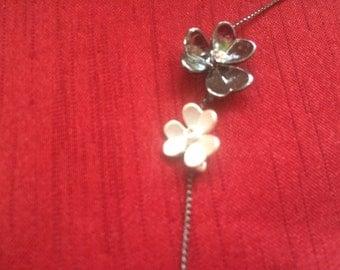 Porcelain Flower White & Gray Flower Long Necklace