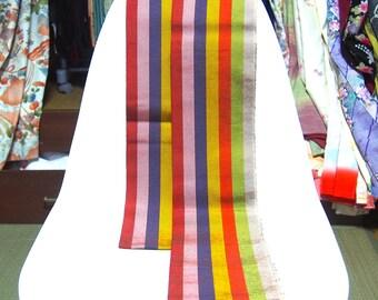 Antique obi belt/Japanese belt/band/for kimono robe/traditional /rainbow