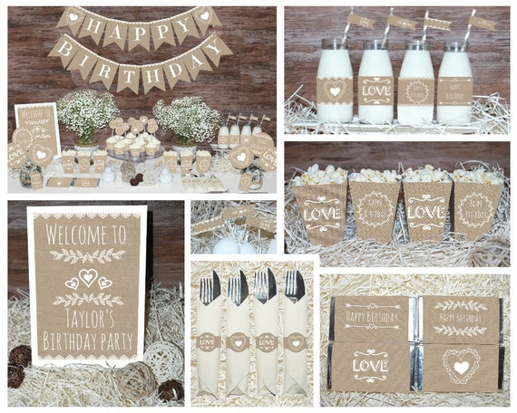 Rustic birthday decorations printable first birthday party for 21st birthday decoration packages