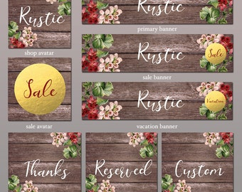 Etsy Store Banner, Rustic - 8 Piece Set, Store Graphics, Etsy Shop Banner Set, Avatar, DIY Shop Banner, Graphic Design, Shop Icon