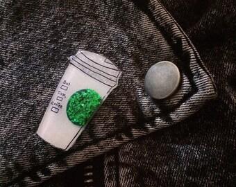 But First, Coffee Custom Glitter Pin | Custom Coffee Brooch, Barista Jewelry, Caffeine Lover, Latte Lapel Pin
