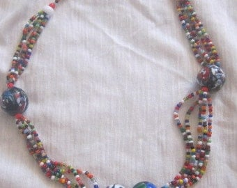 Necklace beads glass vintage ethnic jewelry