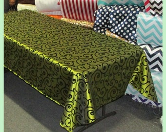 Olive / Black Flocking Swirl Taffeta 58 X 108 Rectangle Tablecloth