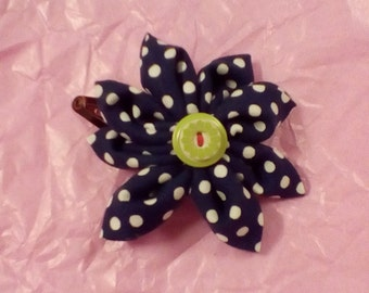 Polka dot fabric flower clip