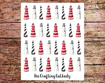 Watercolor Lighthouse Planner Stickers