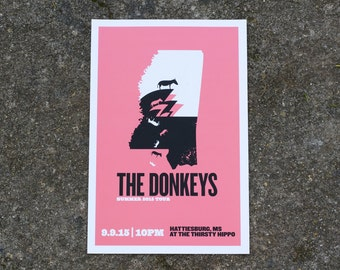 The Donkeys 2015 Mississippi Gig Poster