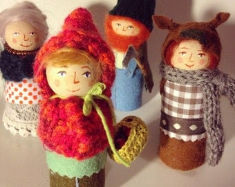 Riding Hood red characters / Pegdoll / inspired by Waldorf-Steiner