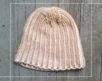 Hand knit hat - handmade - beanie - ribbed