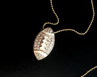 Gold Diamond Football Necklace