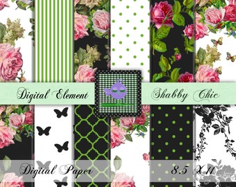 Shabby Chic Digital Paper, Digital Paper, Floral Scrapbook Paper, Digital Scrapbook Paper, Vintage Digital Scrapbook Paper. No. P800.2