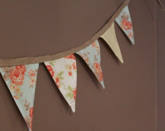Shabby Chic Party Decor Bunting Flags First Birthday