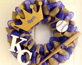 KC Royals Burlap and mesh wreath
