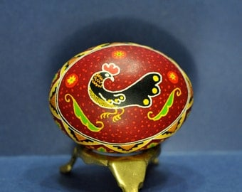 Ukrainian Egg with Rooster, Pysanka, Pysanky, Egg Art, Easter, Decorated Egg, Wax Resist