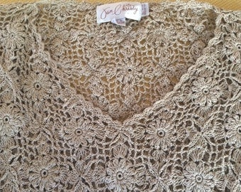 JON CHRISTY hand crocheted 100% Cotton, Large, woman's sweater, beige