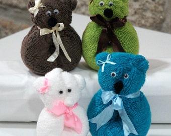 Playful Teddy Origami - Face Cloth Towel
