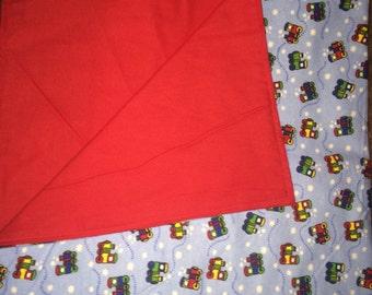 Reversible Trains,Red Flannel Baby Blanket/ Flannel Stroller Blanket/ Lightweight Blanket