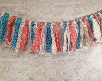 Orange Rag Tie Garland/Turquoise Fabric Garland/Orange Barn Wedding/Orange Fabric Garland/Bridal Shower Decor/Rustic Wedding Decor