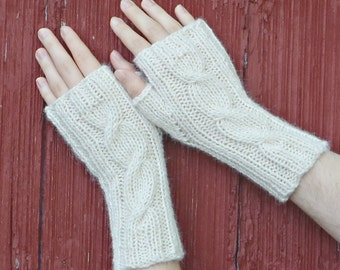 White alpaca fingerless gloves, Natural White texting gloves, knit cabled mitts alpaca knitted wrist warmer alpaca fingerless mittens /Ready