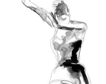 Flamenco dancer, drawing , watercolor