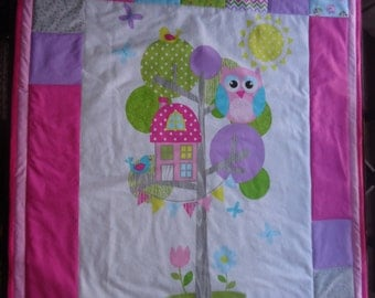 Treehouse Owl  Baby or Toddler Quilt