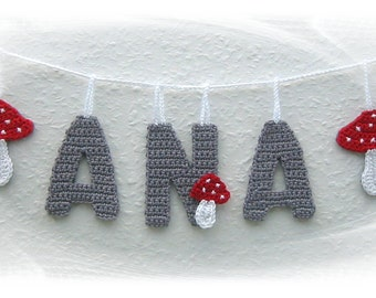 Toadstool Garland with name, present for the birth, nursery decoration, badge, letter to hang