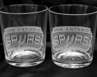 Spurs Etched Rocks Glasses