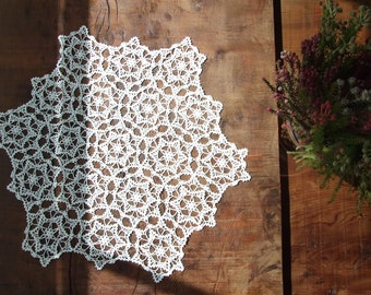 White Cozy Crochet Tablecloth, Tablerunner, Doily, Place Mat, For Home Decor.