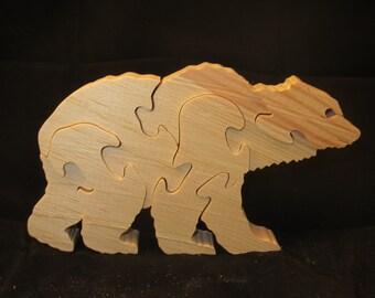 Wooden Toy, Wooden Puzlle Polar bear