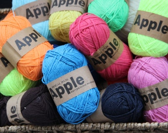 Cotton Yarn, Choose 17 Colours ,%100 Pure Bamboo , 100 Gr' Each Ball / Organic Cotton yarn / Baby Yarn / Antiallergic / Antibacterial