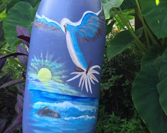 Hand painted seagull beach buoy.