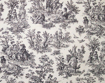 Waverly Rustic Life Black/Off White Toile Fabric Printed Home Decor Decorative