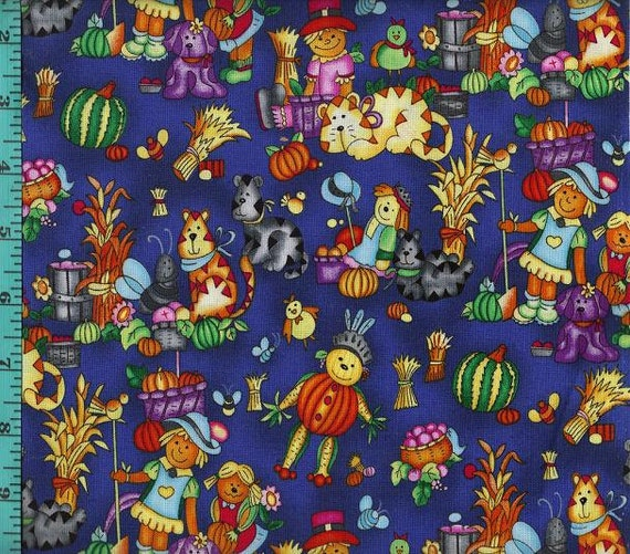 Fall autumn harvest scarecrow pumpkin kitten fabric quilt for Scarecrow home decorations co ltd