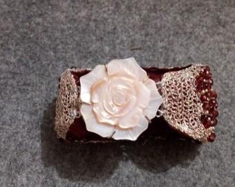 Cuff Bracelet silver and Burgundy