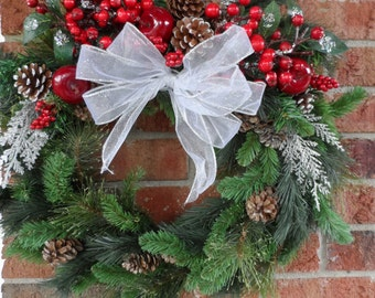 Classic Christmas Wreath, Holiday Wreath, Front Door Wreath, Pine Wreath, Winter Wreath, Christmas Decoration