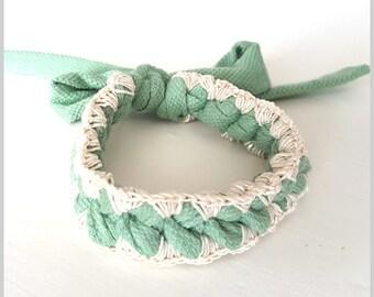 Crochet Friendship Bracelet   Vintage Green