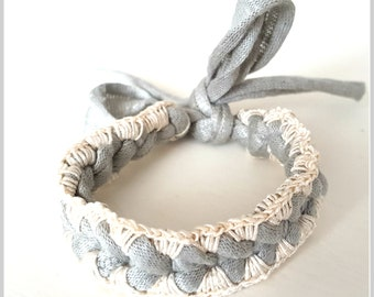 Crochet Friendship Bracelet   Light Grey