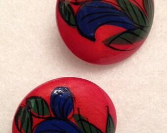 Wooden hand painted earrings